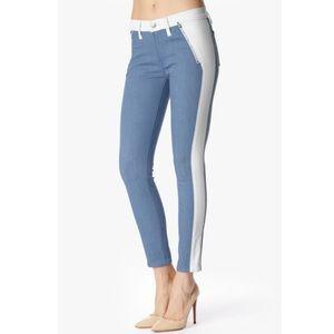 7FAMK Fashion pieced blue white skinny jeans sz 28